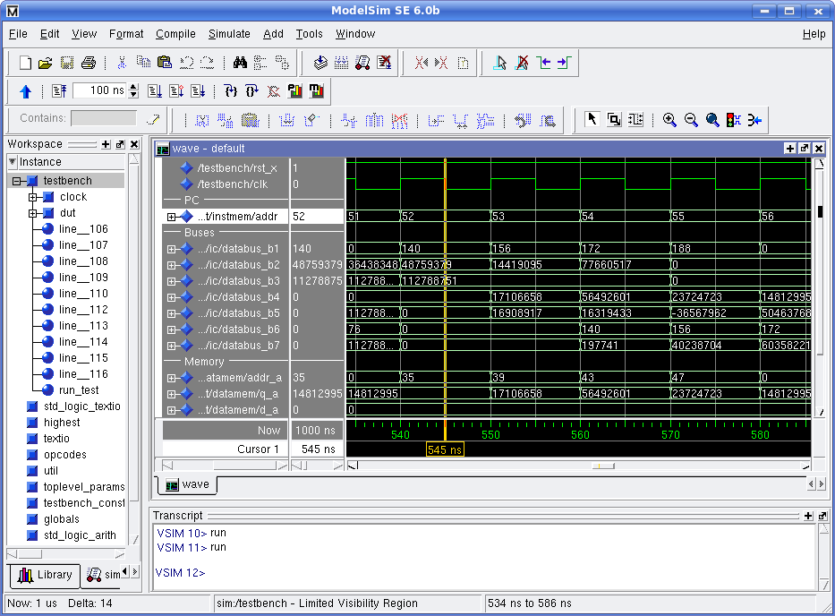 Simulating VHDL with Modelsim.